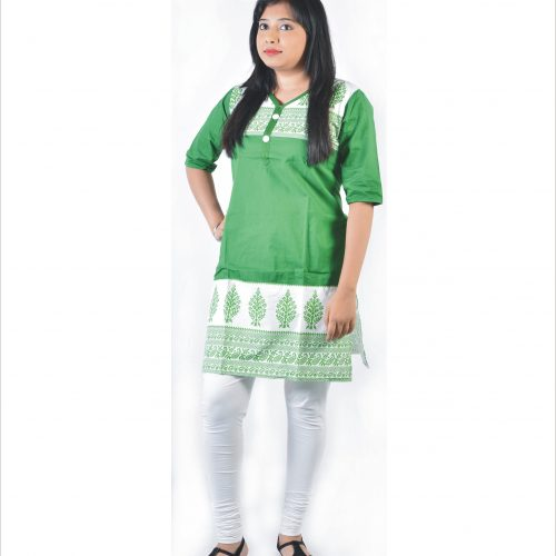 Glimmerra Cotton Batik Printed Solid Green Colour Short Kurta