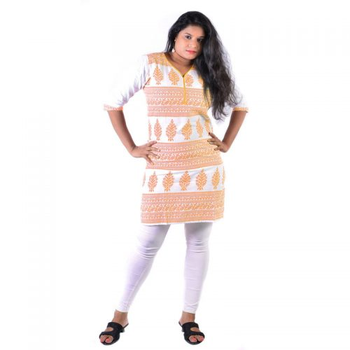 Cotton Made Orange Batik Printed Short Women Casual Kurti