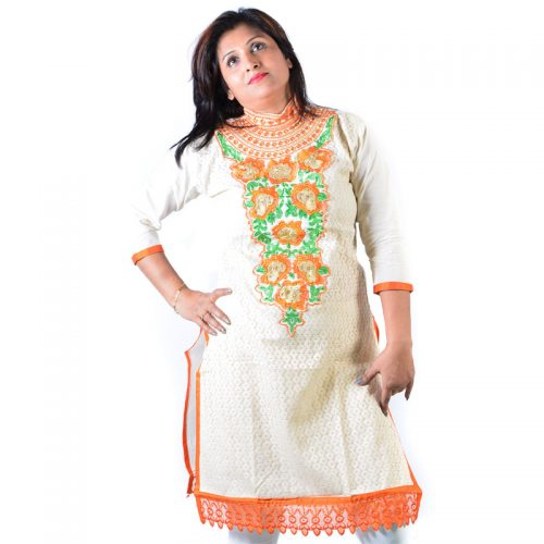Cotton blended White Orange Crotia work High neck Ethnic Kurti