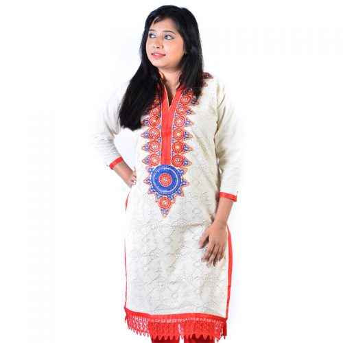 Cotton blended Crotia Work Jodha Akbar Ethnic Red Kurti