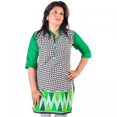Cotton Small Check Printed Green Black Medium Height Kurta