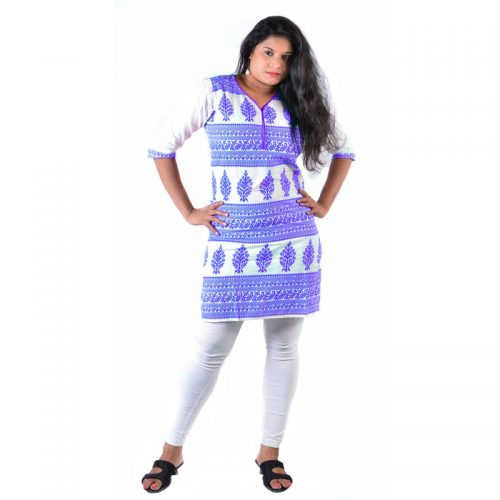 Cotton Made Batik Printed Short Blue Women Casual Kurti