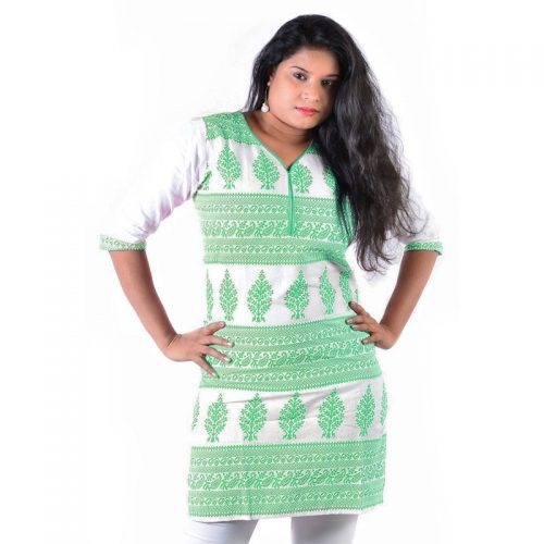 Cotton Made Green Batik Printed Short Casual Kurti