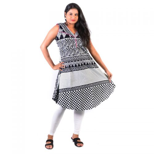 Cotton Black & White Print U Cut Frock Pink Neckline