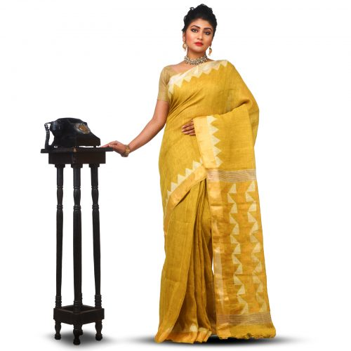Tested Zari Weaved Golden Temple Linen Jamdani Saree