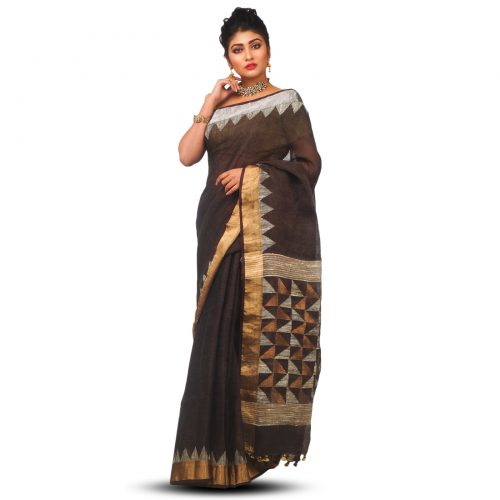 Temple bordered Zari weaved Coffee Brown Linen Jamdani Saree