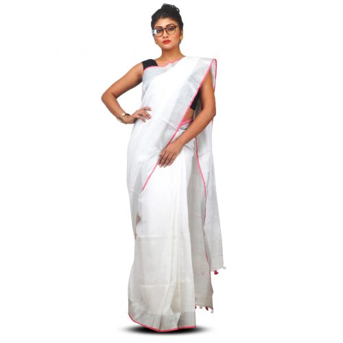 Rich Tested Silver Zari Bordered Linen White Saree