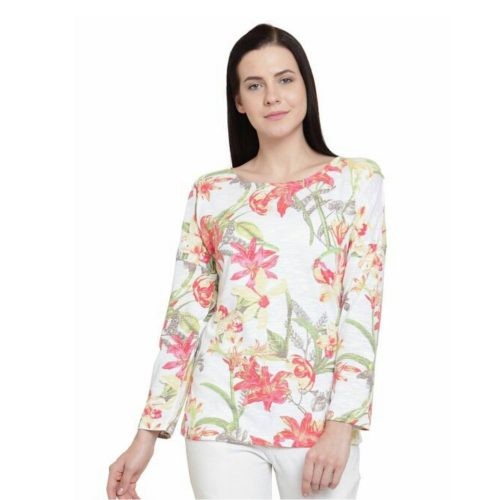 Women Floral Printed Top White