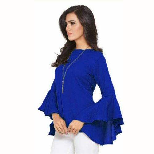 Single-colored Rayon Girls Tops Navy blue